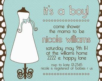 Baby Shower Invitation -- BOY or GIRL -- Baby Dress