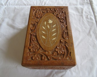 Hand carved wooden box with bone inlay, probably from India