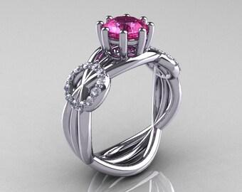 Modern Bridal 14K White Gold 1.0 CT Pink Sapphire Diamond Designer Ring R181-14KWGDPS