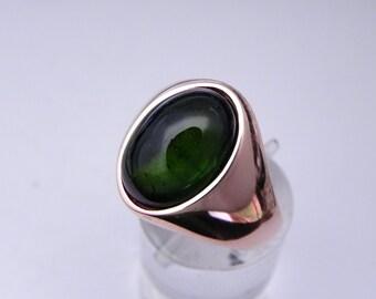 AAA Green Tourmaline   14x10mm  6.5 Carats   14K Rose gold Mans Ring 10 grams MMM