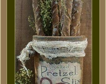 Primitive Folk Art Old Time Pretzel Ornies in Grubby Jar NO SEW ePattern