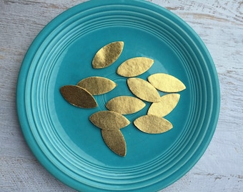 Wool Felt Metallic Gold Leaves - Great with Flowers - Felt Leaves - Gold Leaf
