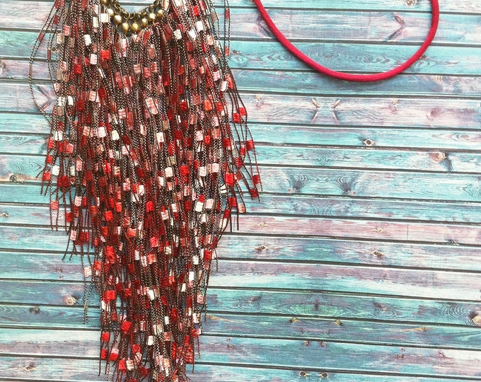 Tassel  bib necklace - Tribal necklace- fabric tassel necklace - statement red necklace - tassel jewelry -gift for her - fabric jewellery