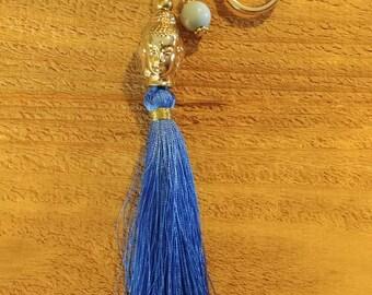 Blue Tassel Keychain. Hindu Keychain. Blue and Gold Keychain. Free Shipping.