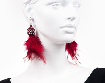 CHERRY FEATHER DROP - long feather earrings, statement elegant earrings, cherry earrings