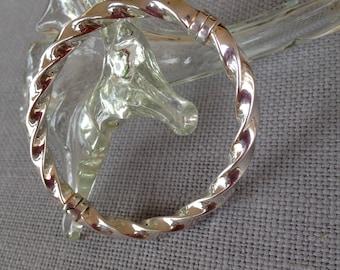 milor vintage italian sterling silver 925 bangle bracelet twist cable clamp bangle. circa 1980