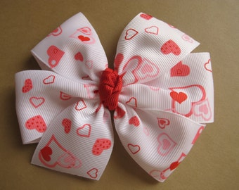 Pink and Red Hearts Pinwheel Bow Great for Valentine's Day