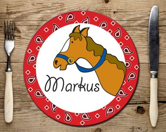 Melamine Plate for Kids, Personalized, Cowboy Plate, Horse Plate, Kids Birthday Gift, Dishwasher Safe Name Plate for Children,