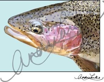 """Little Juniata Rainbow Trout Fish Art Print 8.5""""x11"""""""