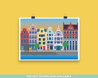 Amsterdam Canal Art Print - Travel Cityscape - Landscape - Europe