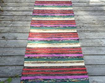RR1612  Vintage Swedish Rag Rug in Purple Green Brown Colored Stripey