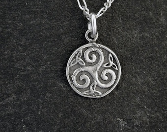 Sterling Silver Celtic Spiral Pendant on a Sterling Silver Chain