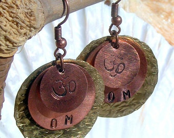 Handstamped Earrings Copper and Brass with Om,Jewelry