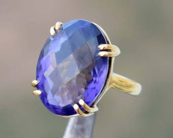 Yellow Gold Fill Tanzanite Ring - Prong Set Ring - Solid 925 Sterling Silver - Handmade Jewelry - Christmas Gift - Tanzanite Faceted Ring
