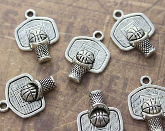 10 Basketball Hoop Charms Antiqued Silver Tone 20 x 15 mm