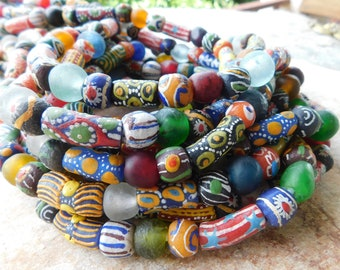 50 Mixed African Glass Beads,African Recycled Glass Beads,50 Glass Beads, Mixed Painted Beads, Ghana Glass Beads, African Beads, Krobo Beads