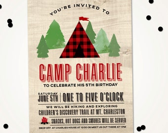 Camping Birthday Invitation, Nature Birthday party invitation, Explore Birthday Invite, S'More Birthday, Hiking party, PRINTABLE DIY