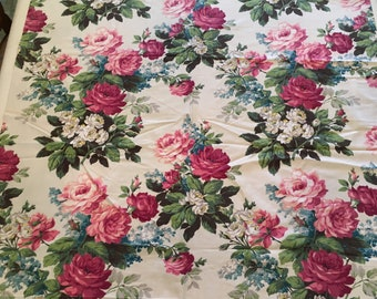 Vintage Fabric Pink Roses cutter as/is drape panel Pretty 40's era!