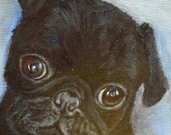 "Pug, custom dog Painting , pet portrait,  Portrait Commission,  personalized pet art , gifts for pet lovers, Christmas gift idea, 5x7"""
