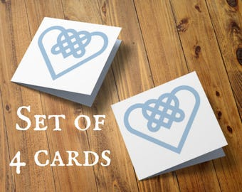 Pack of 4 papercut cards, Celtic heart, Small notecards, Set of four, Mini paper cut, Thank you note card, Welsh knot heart, Welsh note card