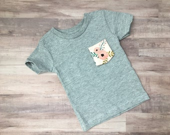Infant, Toddler, Youth Tshirt, Pink Peony Floral Pocket