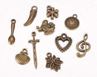 "Set of 10 bronze themed charms ""Various"" (BR037)"