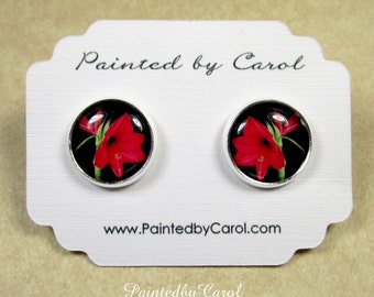 Amaryllis Earrings, Red Amaryllis Jewelry, Amaryllis Studs, Amaryllis Lever Backs, Christmas Earrings, Bridesmaid Earrings, Amaryllis Gifts