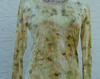 OOAK  Upcycled Repo Garden Print  Silk Long Sleeve  Naturally Dyed  Woman's Size Medium