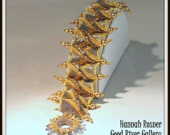 Peyote Stitch Bead Pattern Royal Ruffles beaded Bracelet tutorial instructions - advanced level beading by Hannah Rosner