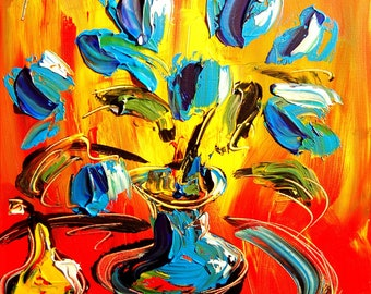 TULIPS  Modern Abstract Gallery Artist Contemporary Wall Decor Original Oil Painting PRINT