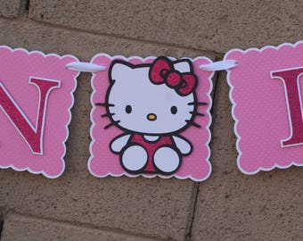 Hello Kitty Birthday Banner. Kitty Cat. Hot Pink and  Glitter.