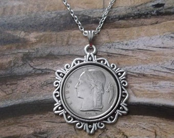 France Coin Necklace in Pendant Tray-France 5 FR France Coin Pendant