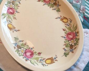Vintage Large Serving Platter Assorted Floral Pink and Blue