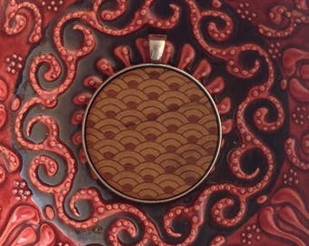 Japanese Pattern - Laser Engraved Wood Pendant Necklace