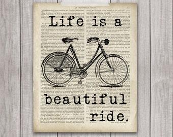 Life is a Beautiful Ride - 8x10 Bicycle Print, Bike Print, Bike Vintage, Vintage Print, Bike Decor, Printable Art, Bicycle