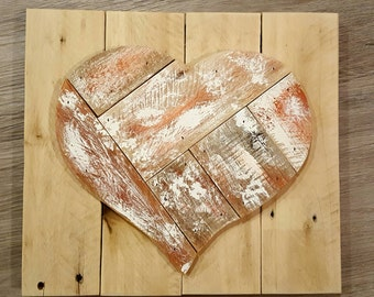 Rustic reclaimed wood heart wall hanging
