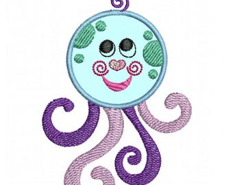 Baby Octopus Applique - Machine Embroidery Design