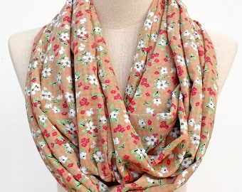 Floral Scarf, Light Brown Scarf, White Flower Scarf, Infinity Scarf