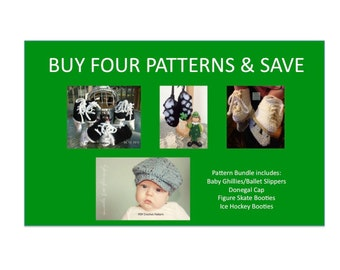 4 Instant Downloads - Buy Donegal Cap - Baby Ghillies - Hockey Skates - Figure Skates - PDF Crochet Patterns and Save