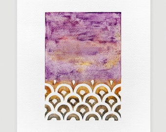 Watercolor painting Abstract painting original purple wall art decor, A4 by VApinx
