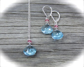 Blue topaz briolette necklace. Swiss blue topaz and pink sapphire necklace on a sterling silver chain. Holiday collection.