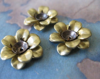 4 PC Triple Layer Riveted Tiny Brass Flower Bud - OO14