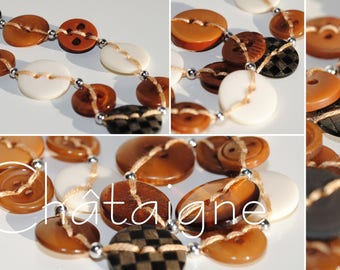 Chestnut - Long necklace made of buttons