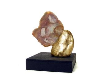 Agate with Inclusions  - Abstract Art Sculpture -  Invigorate / Gift, Gold, Home Decor, Desk Decor, Sculpture, Semi Precious Stone