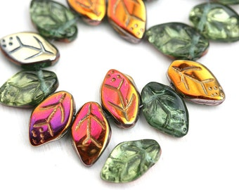 12x7mm Olivine leaves, Czech glass pressed leaf beads, Rainbow coating, top drilled, Olive green, 25pc - 2486