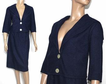 Vintage Suit//1960s//Jacket O Suit//Navy Blue//  Designer Miss Pat// Fully Lined// Wool