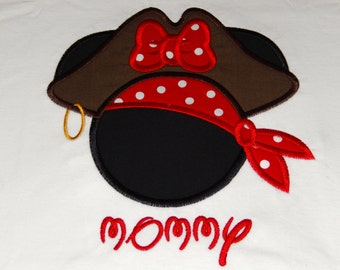 Personalized Pirate Hat Miss Mouse Head T-Shirt