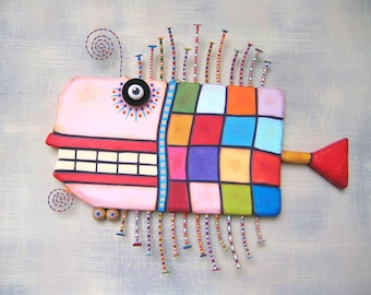 Quilted Cod, MADE to ORDER, Original Found Object Wall Sculpture, Wood Carving, Wall Decor, by Fig Jam Studio