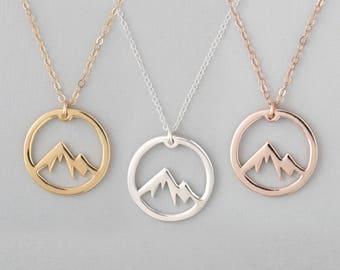 Mountain Necklace, Circle Mountain Necklace, Mountain Pendant Necklace, Mountain Charm Necklace, Mountain Jewelry