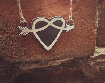 Arrow and Heart necklace. sterling silver. handmade. heart necklace